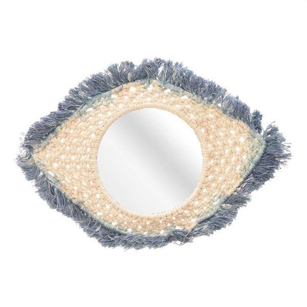 Επιτοίχιος Καθρέπτης Boho Πλεχτός Εκρού Μπλε 'Μάτι' 32x21, Inart