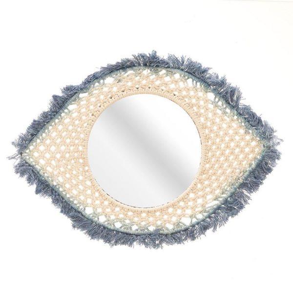 Επιτοίχιος Καθρέπτης Boho Πλεχτός Εκρού Μπλε 'Μάτι' 40x27, Inart