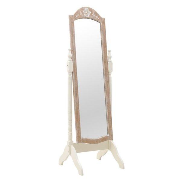 Καθρέπτης Επιδαπέδιος Ρομαντικός Ξύλινος Natural Beige Λευκό Υ160, Inart