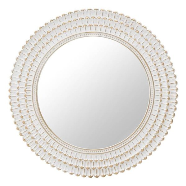 Καθρέπτης Τοίχου Με Φαρδιά Κορνίζα Αντικέ Λευκός Χρυσός Δ76, Inart