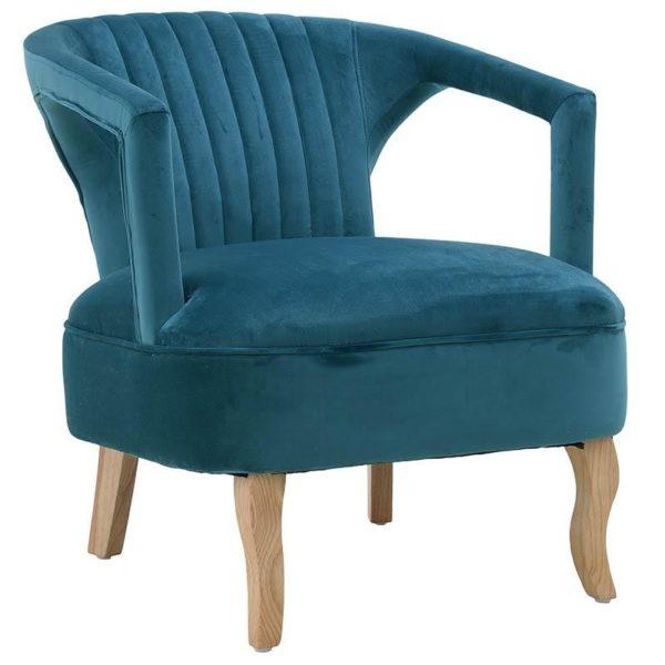 Πολυθρόνα Βελούδινη Baby Blue Με Natural Πόδια 63x73x75, Inart
