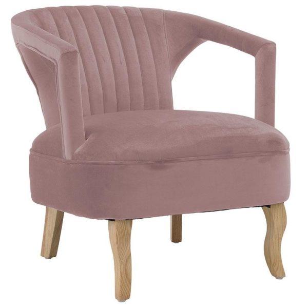 Πολυθρόνα Βελούδινη Dusty Pink Με Natural Πόδια 63x73x75, Inart