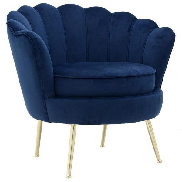 Πολυθρόνα Βελούδινη Dark Blue Με Μεταλλικά Χρυσά Πόδια 78x78x78/48 Inart