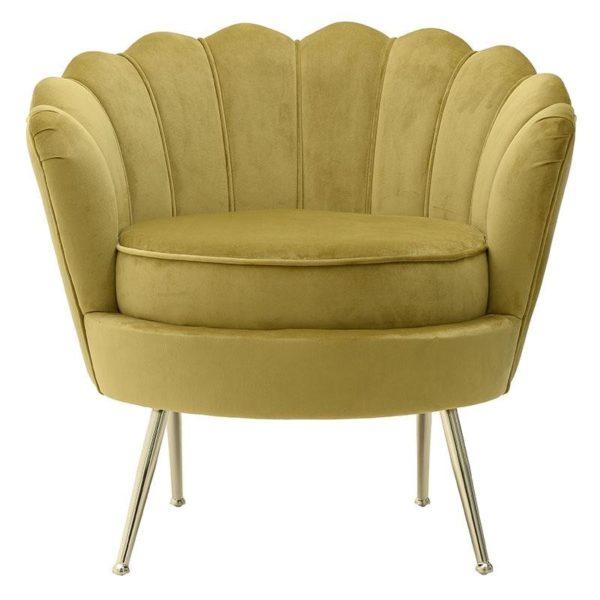 Πολυθρόνα Βελούδινη Golden Green Με Μεταλλικά Χρυσά Πόδια 78x78x78/48 Inart