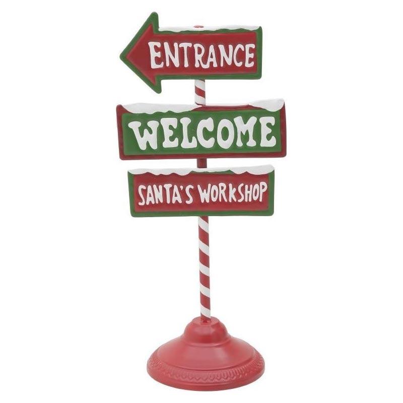 Χριστουγεννιάτικη Διακοσμητική Πινακίδα Μεταλλική Κόκκινο/ Πράσινο'Welcome' Υ46