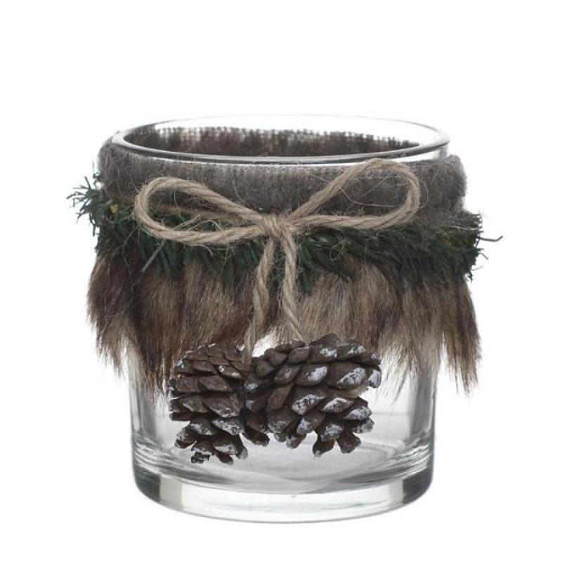 Χριστουγεννιάτικο Κηροπήγιο Για Ρεσώ Γυάλινο Με Κουκουνάρι 7.5x7.5x10