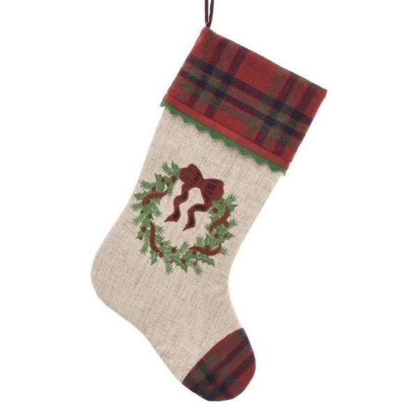 Διακοσμητική Χριστουγεννιάτικη Κάλτσα Κόκκινο/ Εκρού