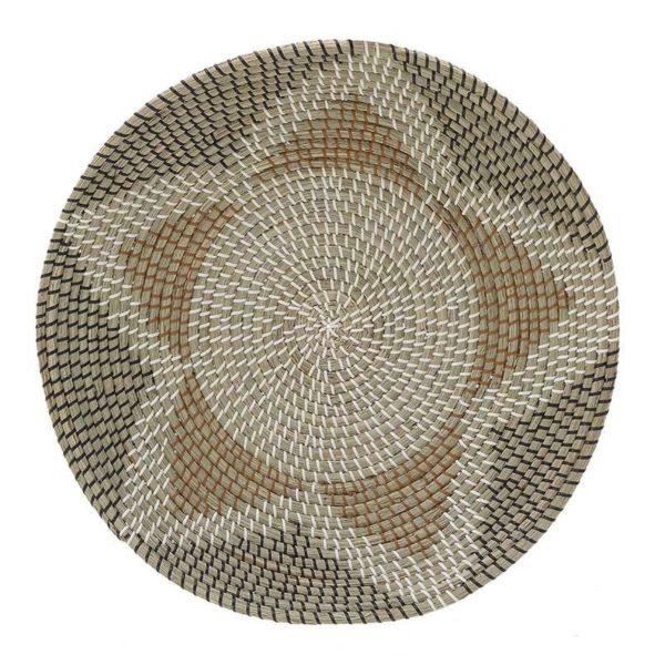 Διακοσμητική Πιατέλα Ψάθινη Με Natural Beige/ Μαύρο Σχέδιο Δ58, Inart