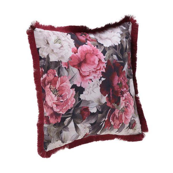 Διακοσμητικό Μαξιλάρι Βελούδινο Floral Με Κρόσσια 45x45