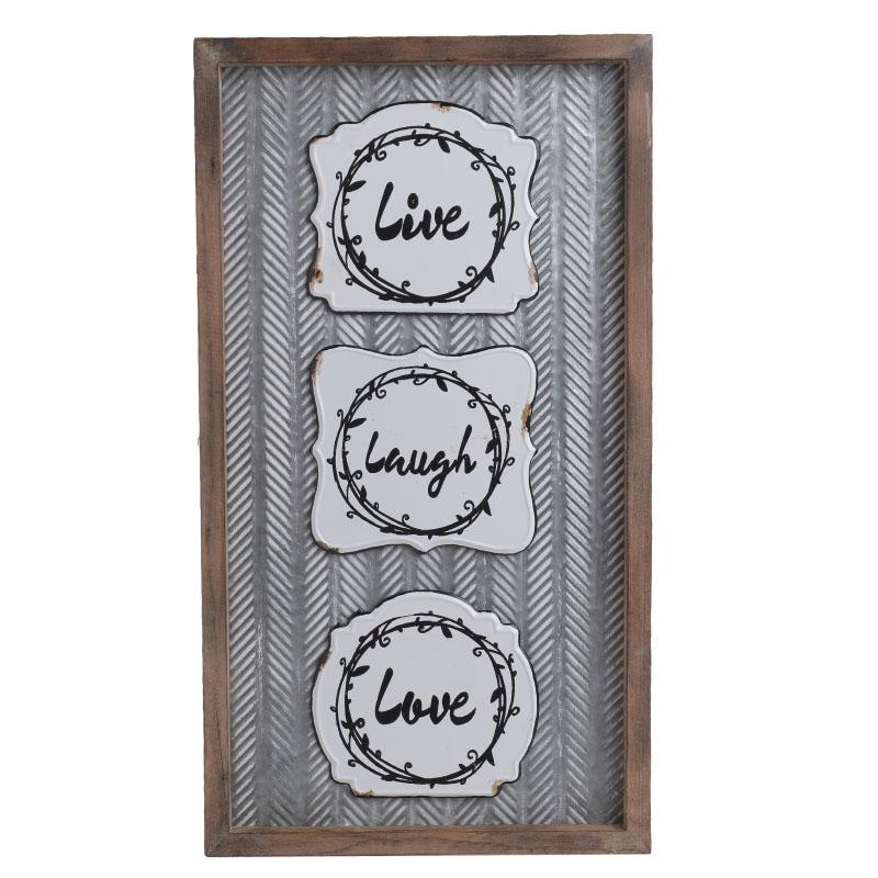 Επιτοίχιο Διακοσμητικό Κάδρο Ξύλινο/ Μεταλλικό 'Live Laugh Love' 30x2.5x54