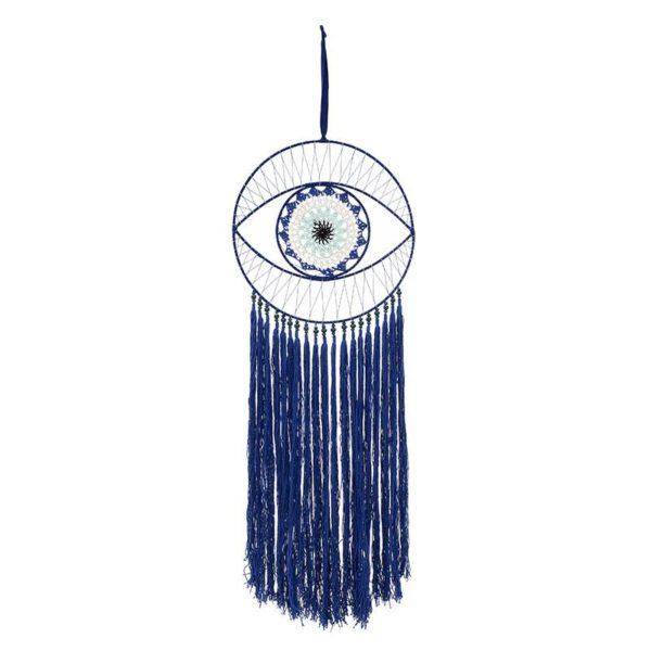 Επιτοίχιο Διακοσμητικό Ονειροπαγίδα 'Μάτι' Με Φούντες Λευκή/ Μπλε 30x96