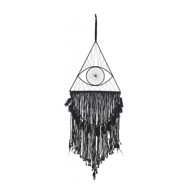 Επιτοίχιο Διακοσμητικό Ονειροπαγίδα 'Μάτι' Με Μαύρες Φούντες 36x117