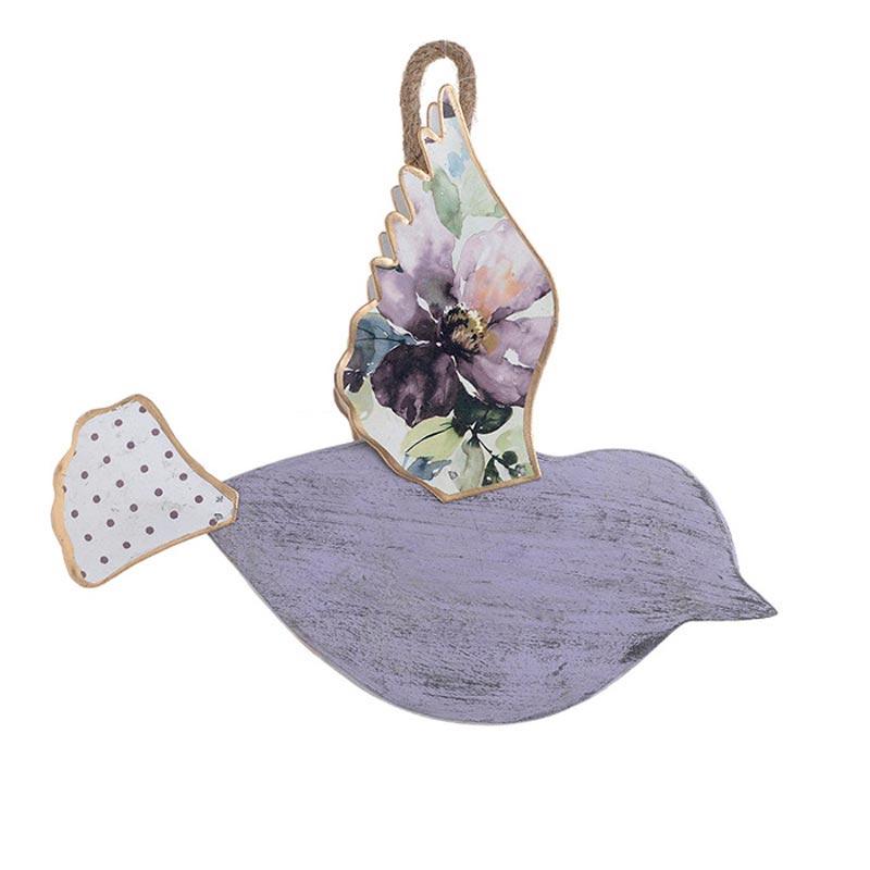 Επιτοίχιο Διακοσμητικό Πουλί Ξύλο/ Μέταλλο Μωβ Floral