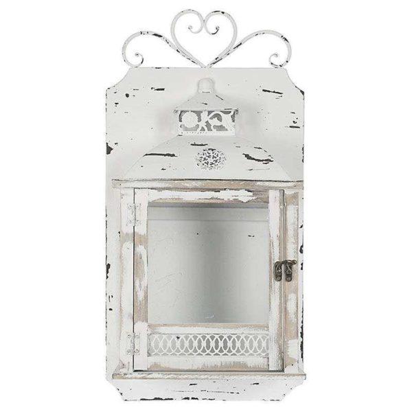 Επιτοίχιο Φαναρί Ξύλινο Αντικέ Λευκό Σε Μεταλλική Βάση 29x14x55