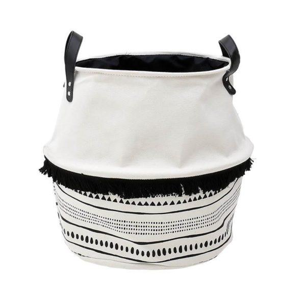 Καλάθι Αποθήκευσης Υφασμάτινο Λευκό Με Μαύρα Σχήματα Tribal Δ30 Υ40, Inart
