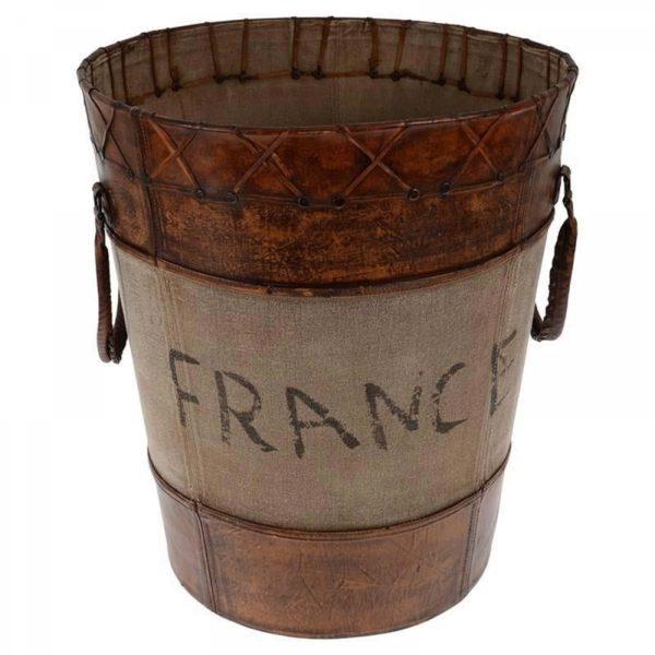 Καλάθι Δερμάτινο Καφέ Για Ξύλα 'France' Δ51.5x46