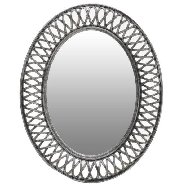 Καθρέπτης Τοίχου Οβάλ Polyresin Πλεχτός Γκρι 61x76