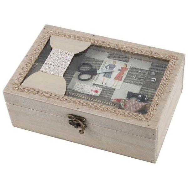 Κουτί Αποθήκευσης Ξύλινο Natural 'Ραπτική'