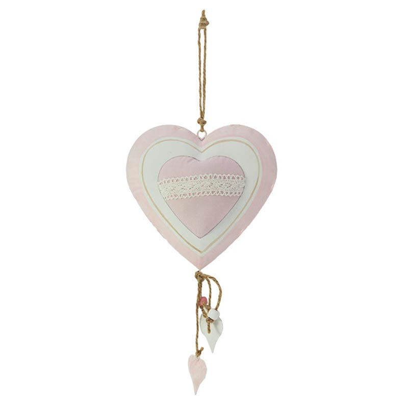 Κρεμαστή Διακοσμητική Καρδιά Υφασμάτινη Με Ροζ Ρομαντικό Σχέδιο 16x3x27/37