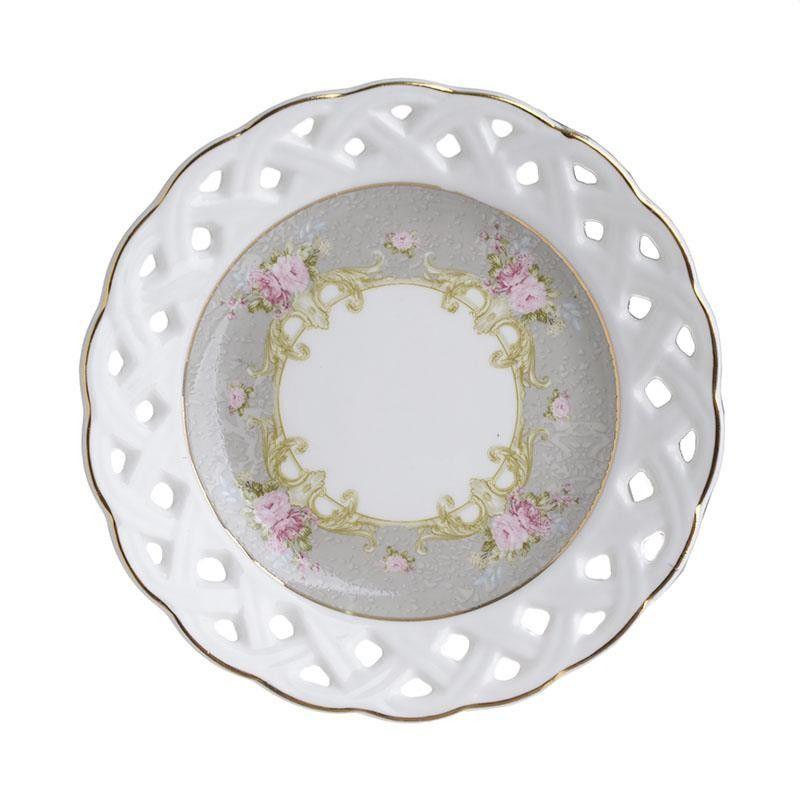 Πιατάκια Γλυκού Πορσελάνινα Ροζ/ Γκρι Με Χρυσή Μπορντούρα, Σετ Των 6