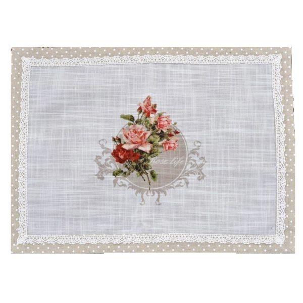 Σουπλά Μπεζ/ Λευκό Πουά Υφασμάτινο Με Λουλούδια 45x33