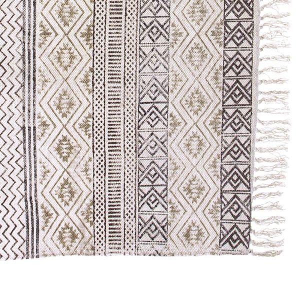 Χαλί Υφασμάτινο Εκρού/ Γκρι Με Κρόσσια 'Block Print' 120x180 | ZAROS