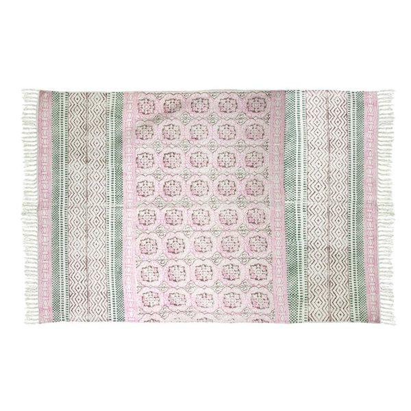 Χαλί Υφασμάτινο Παστέλ Ροζ/ Πράσινο Με Κρόσσια 'Block Print' 120x180 | ZAROS