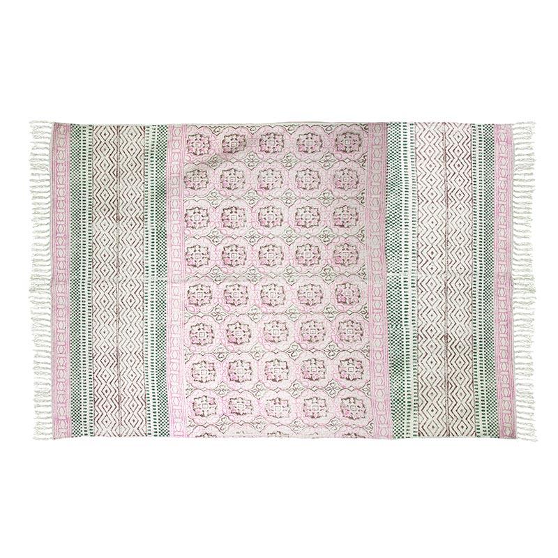 Χαλί Υφασμάτινο Παστέλ Ροζ/ Πράσινο Με Κρόσσια 'Block Print' 120x180   ZAROS