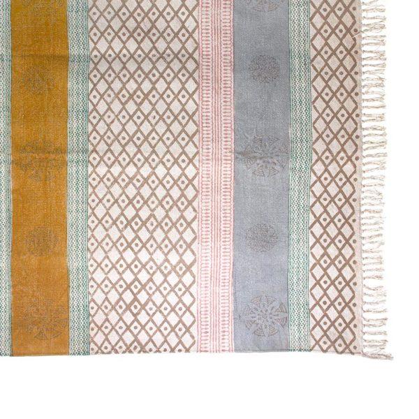Χαλί Υφασμάτινο Ροζ/ Ώχρα Με Κρόσσια 'Block Print' 120x180 | ZAROS