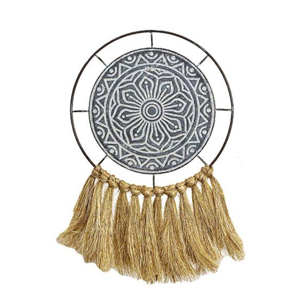 Επιτοίχιο Διακοσμητικό Μεταλλικός Δίσκος Tribal Με Κρόσσια Δ25.5 | ZAROS