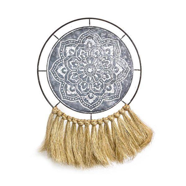 Επιτοίχιο Διακοσμητικό Μεταλλικός Δίσκος Tribal Με Κρόσσια Δ30.5 | ZAROS
