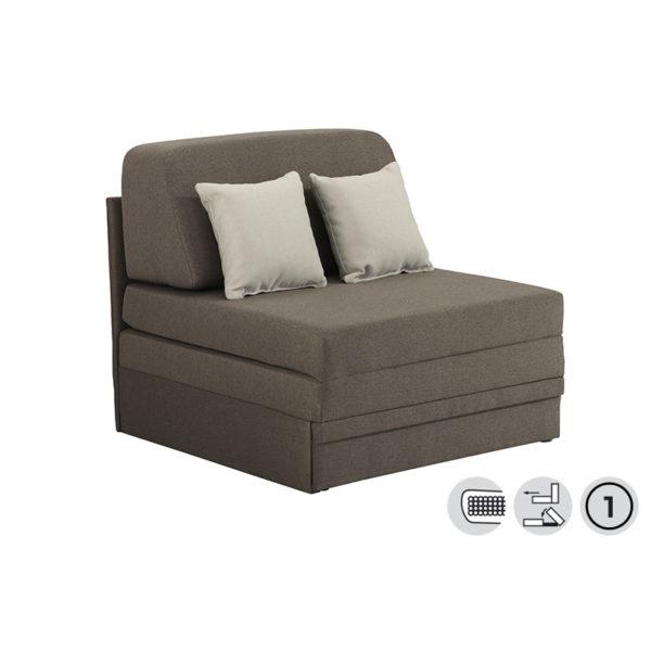 Πολυθρόνα/ Κρεβάτι Υφάσματινο Γκρι Με Δύο Μαξιλάρια Ανοιχτό Γκρι 'Fantastico' 92x85x97