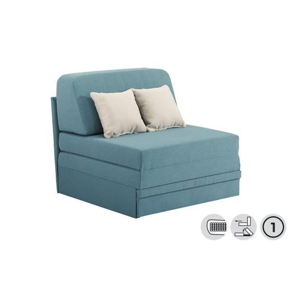 Πολυθρόνα/ Κρεβάτι Υφάσματινο Τυρκουάζ Με Δύο Μαξιλάρια Ανοιχτό Γκρι 'Fantastico' 92x85x97