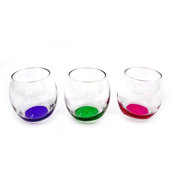 Ποτήρια Ουίσκι Γυάλινα Με Χρωματιστό Πάτο 'RN' 350cc, Σετ Των 6