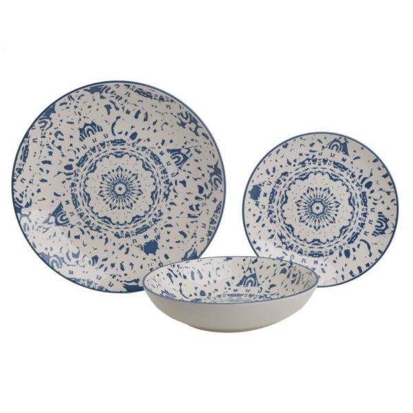Σετ Πιάτων 18 Τεμαχίων Stoneware Boho Blue, Inart