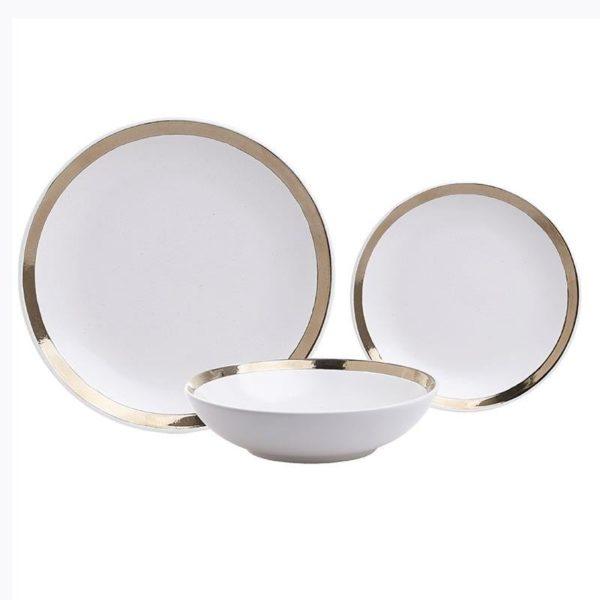 Σετ Πιάτων 18 Τεμαχίων Stoneware Λευκό Με Πλατίνα, Inart
