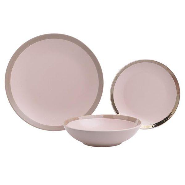 Σετ Πιάτων 18 Τεμαχίων Stoneware Ροζ Με Πλατίνα, Inart