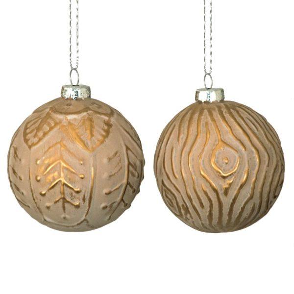 Χριστουγεννιάτικη Μπάλα Γυάλινη Χάλκινη, Σε 2 Σχέδια Δ10   ZAROS