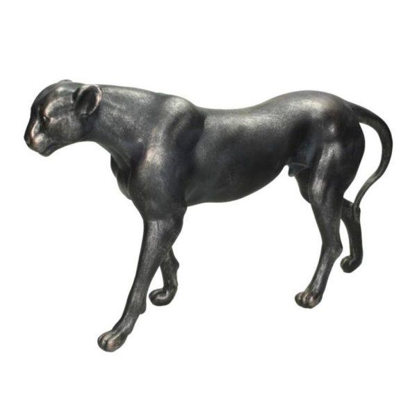 Διακοσμητική Λεοπάρδαλη Μαύρη/ Ασημί 39.5x11x22.5 | ZAROS