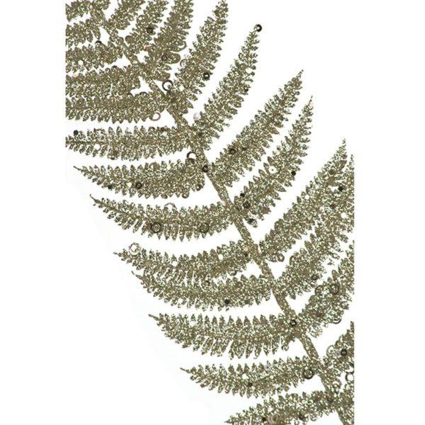 Διακοσμητικό Χριστουγεννιάτικο Κλαδί Φτέρης Σαμπανί Με Glitter | ZAROS