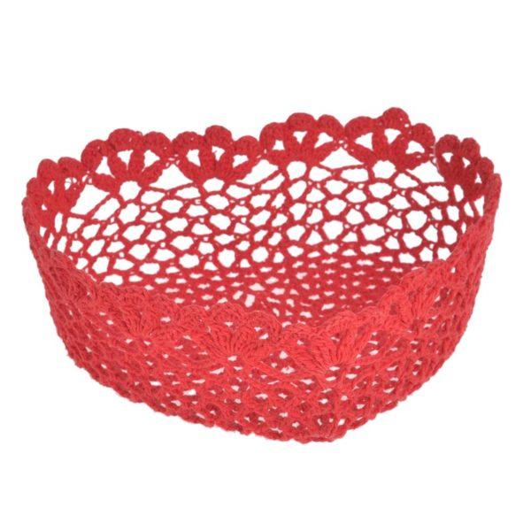 Διακοσμητικό Καλάθι Κόκκινο Πλεχτή Καρδιά 21x20x7