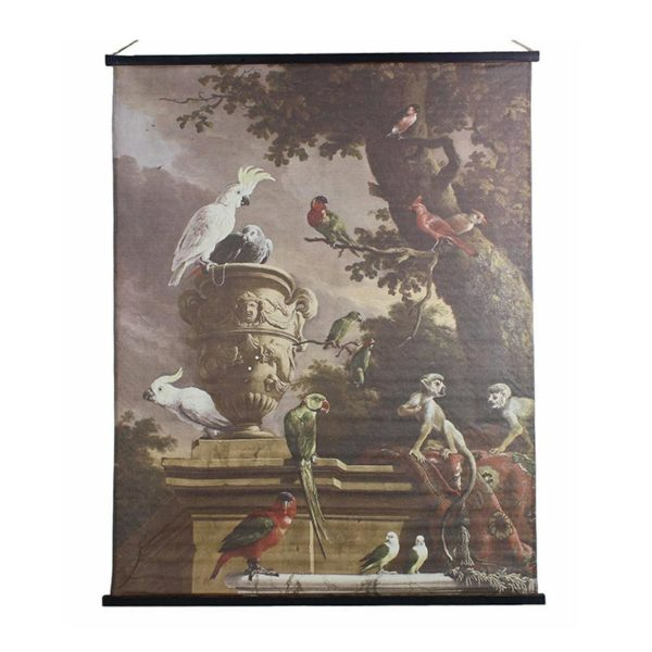 Επιτοίχιος Καμβάς Baroque Με Θέμα Εξωτικά Πτηνά 140x170   ZAROS