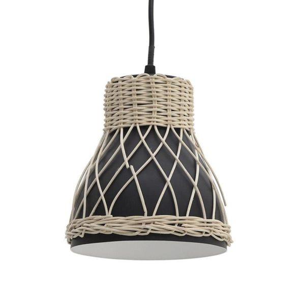 Φωτιστικό Οροφής Μονόφωτο Μεταλλικό Μαύρο Με Rattan Πλέξη Δ18 Υ19, Inart