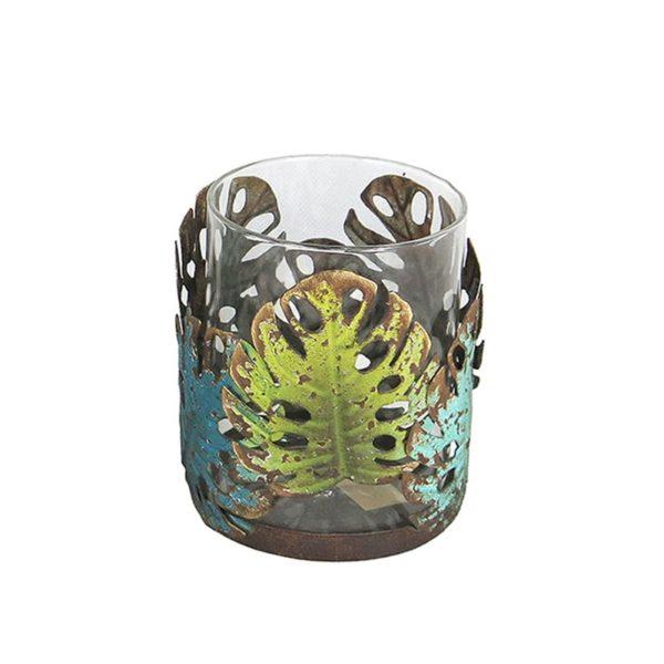 Κηροπήγιο Μέταλλο/ Γυαλί Με Διακοσμητικά Φύλλα Μονστέρας 10x12 | ZAROS