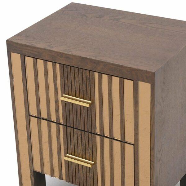 Κομοδίνο Ξύλινο 2θέσιο Καφέ Με Χρύσο Καθρέπτη 40x30x47cm, Inart