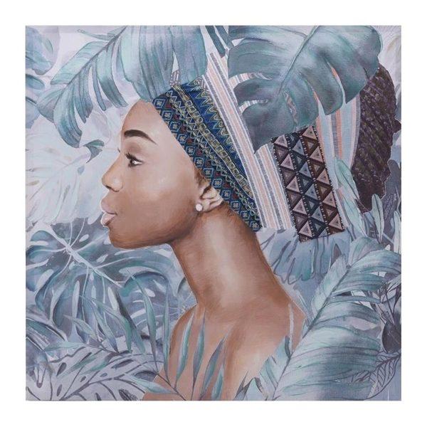 Πίνακας Γυναίκα Africa Green Με Ύφασμα 100x100, Inart