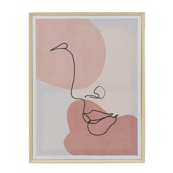Πίνακας Πρόσωπο 'One Line' Λευκό/ Σομόν 45x3x60, Inart