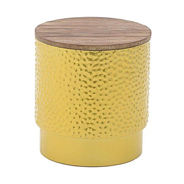 Σκαμπό Μεταλλικό Χρυσό Ανοιγόμενο Με Ξύλινο Καπάκι Δ39 Υ42, Inart