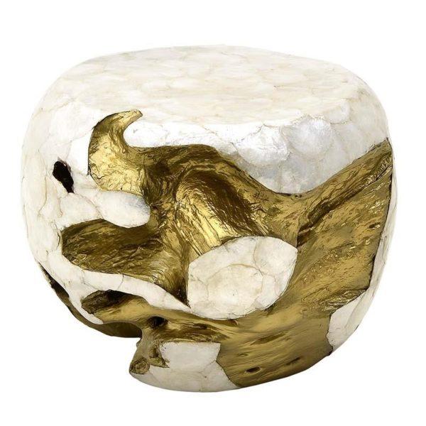 Σκαμπό Ξύλινο Λευκό Φίλντισι Με Χρυσά Σμιλεύματα Δ40 Υ35, Inart