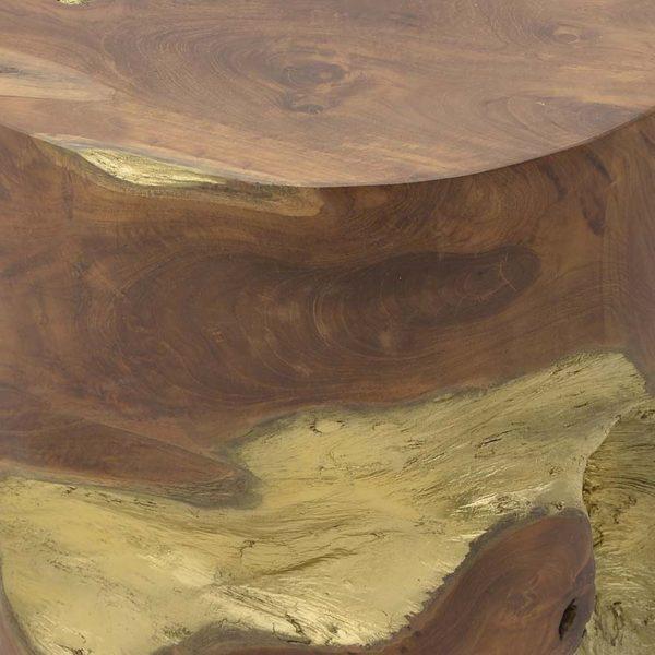 Σκαμπό Ξύλινος Κορμός Καφέ Με Χρυσά Σμιλεύματα Δ35 Υ40, Inart